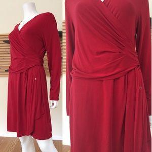 DKNY stretch jersey wrap dress red NWT